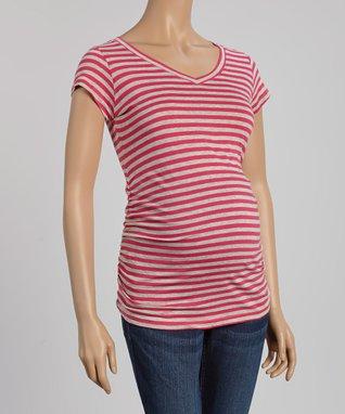 PinkBlush White & Black Stripe Maternity Maxi Dress - Women