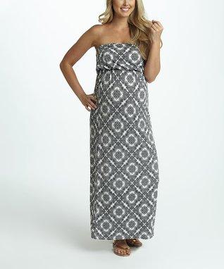 PinkBlush White & Black Paisley Maternity Maxi Dress - Women