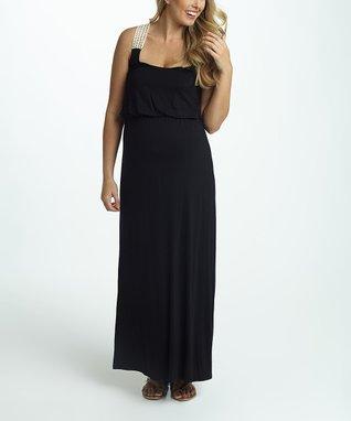 PinkBlush Black Crochet-Accent Maternity Maxi Dress - Women