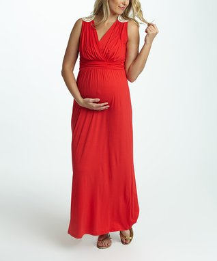 PinkBlush Red Crochet Back Maternity/Nursing Maxi Dress - Women