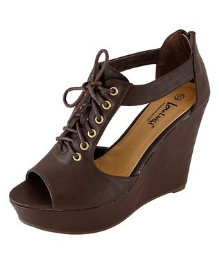 Agape Brown Cutout Henri Wedge Sandal