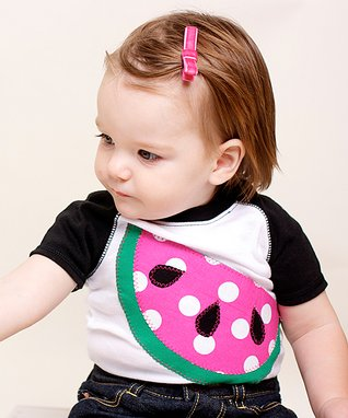 Black & White Watermelon Raglan Bodysuit - Infant