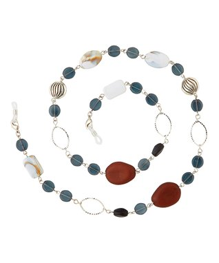 Silvertone & White Paloma Eyeglasses Chain