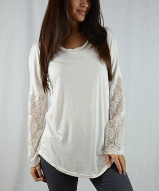 OhConcept Collection Ivory Lace-Sleeve Tunic