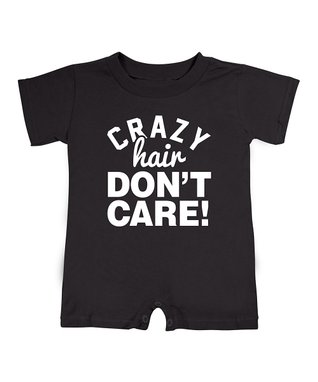 Black 'Crazy Hair Don't Care' Romper - Infant