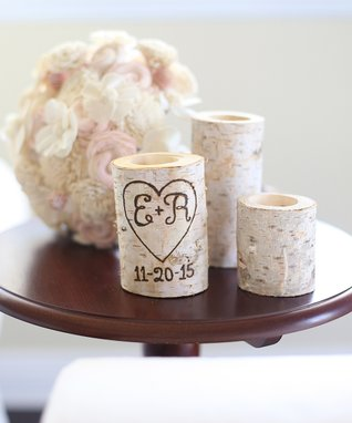 White Personalized Birch Vase