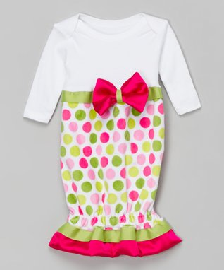 Hot Pink & Green Dot Satin Bow Gown - Infant
