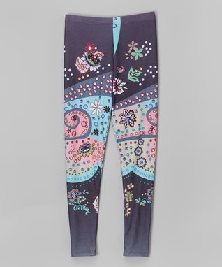 Aqua & Charcoal Paisley Leggings - Infant, Toddler & Girls