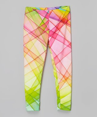 Pink & Green Geometric Leggings - Infant, Toddler & Girls
