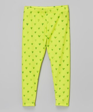 Lime Hearts Leggings - Infant, Toddler & Girls