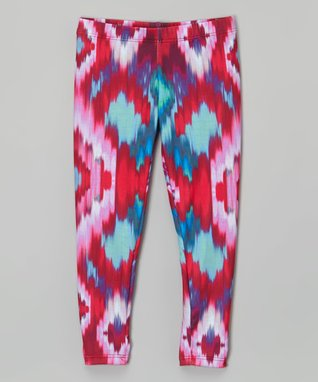 Raspberry & Aqua Ikat Leggings - Infant, Toddler & Girls