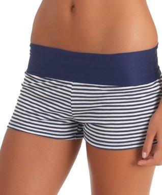 Navy Stripe Boyshort Bikini Bottoms