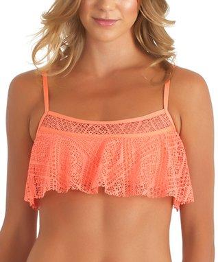 Orange Lace Ruffle Bikini Top