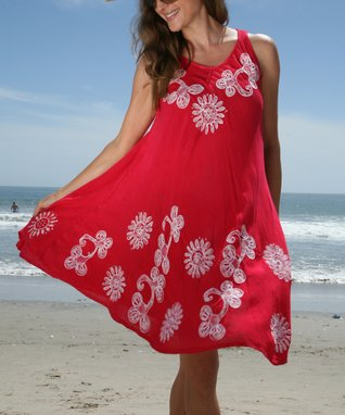 Ananda's Collection Red Hand-Painted Floral Shift Dress