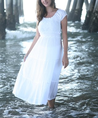 Ananda's Collection White Eyelet Tiered Maxi Dress