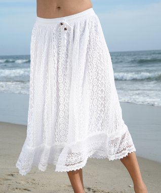 Ananda's Collection White Lace Maxi Skirt