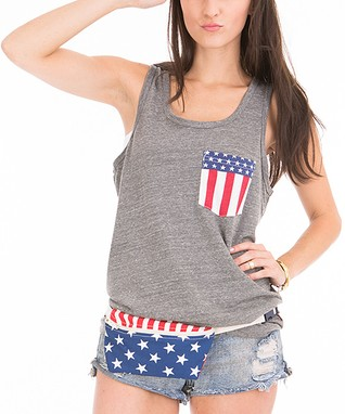 Venley by Youth Monument Heather Gray American Flag Pocket Tank