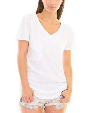 Venley by Youth Monument White Pocket V-Neck Tee