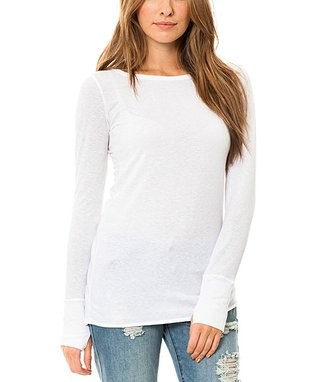 Venley by Youth Monument White Thumbhole Top
