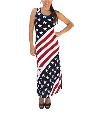 A+A White & Red American Flag Maxi Dress