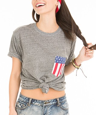 Venley by Youth Monument Heather Gray American Flag Pocket Tee