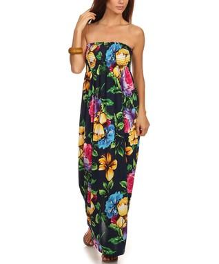 c97d7f1f7f Gilli Navy Floral Shirred Strapless Maxi Dress