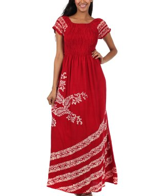 S Apparel Red Floral Handkerchief Dress
