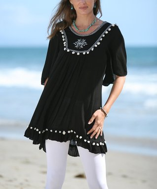 Ananda's Collection Black & White Embroidered Tunic