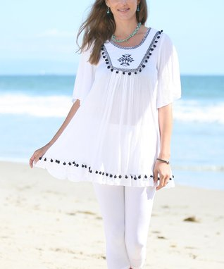 Ananda's Collection White Embroidered Tunic