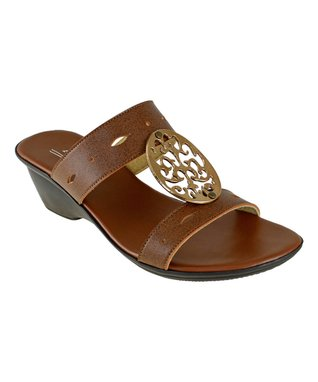Agape Chocolate Cutout Henri Wedge Sandal