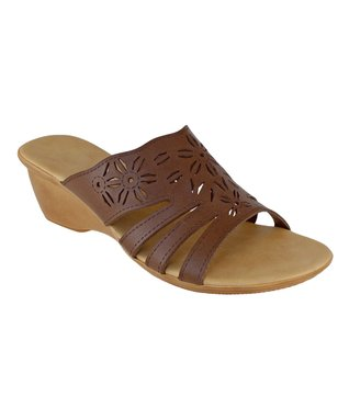 Agape Tan Cutout Henri Wedge Sandal