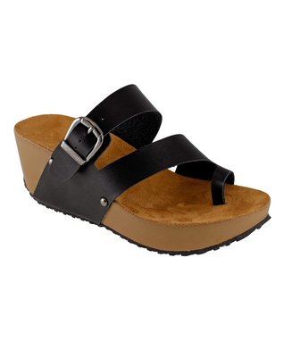 Lena Luisa Black Buckle Pond Wedge Sandal