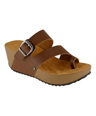 Lena Luisa Chocolate Buckle Pond Wedge Sandal