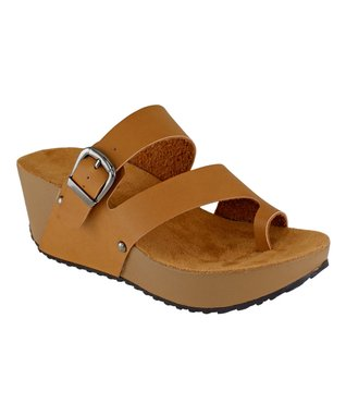 Lena Luisa Tan Buckle Pond Wedge Sandal