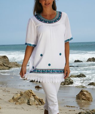 Ananda's Collection White Embroidered Crochet Tunic - Women