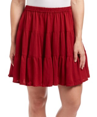 Red Pleated Skirt