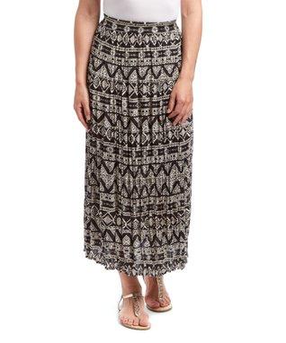 Black Geometric Midi Skirt