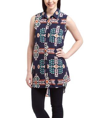 Navy Geometric Hi-Low Shirt Dress