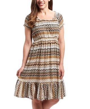 Chocolate & White Zigzag Peasant Dress