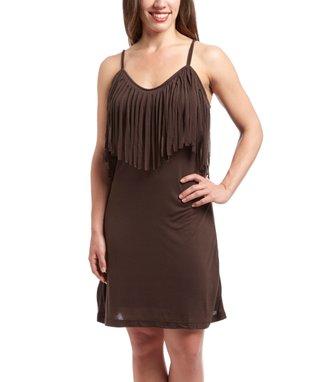 Chocolate Fringe Sleeveless Dress