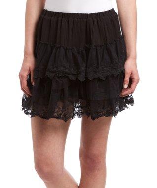 Black Lace Ruffle Skirt