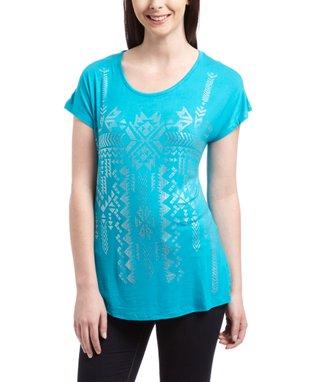 Turquoise Geometric Embellished Tee