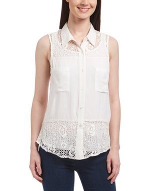 White Sheer-Lace Sleeveless Button-Up