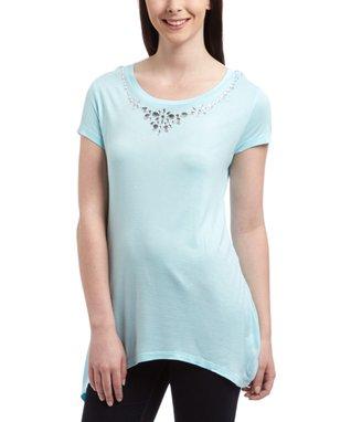 Aqua Embellished-Neck Tunic