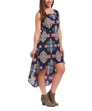 Navy Geometric Hi-Low Dress