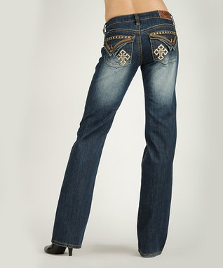 Pink Embroidered Mid-Rise Bootcut Jeans