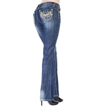 Dark Stone Tinkerbell Low-Rise Bootcut Jeans