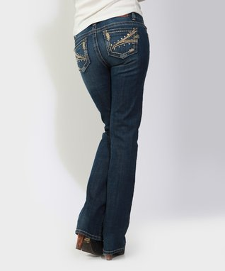 Dark Stone Lily Pad Mid-Rise Bootcut Jeans