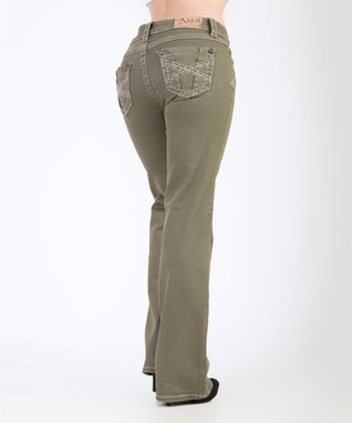 Olive Embroidered Mid-Rise Bootcut Jeans