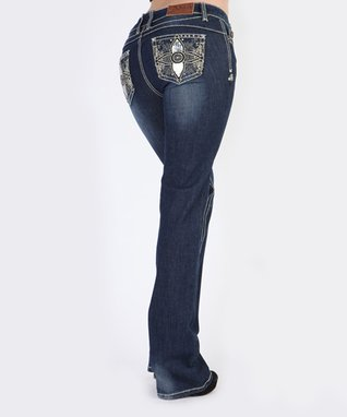 Dark Stone Four Corners Embroidered Low-Rise Bootcut Jeans